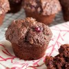 chocolate oatmeal muffins with cranberries