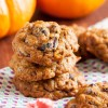 pumpkin chocolate chip cookies with cranberries and pecans